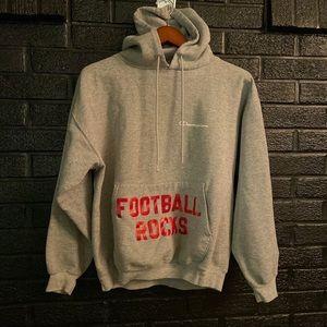Champion FOOTBALL ROCKS! hoodie size large